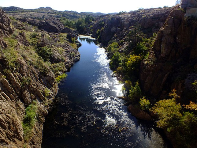 This is Quanah Creek below Quanah Parker Lake Dam.