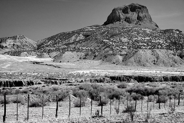 Cabezon, derived from the Spanish word for head, Cabeza, dominates an otherwise bleak landscape.