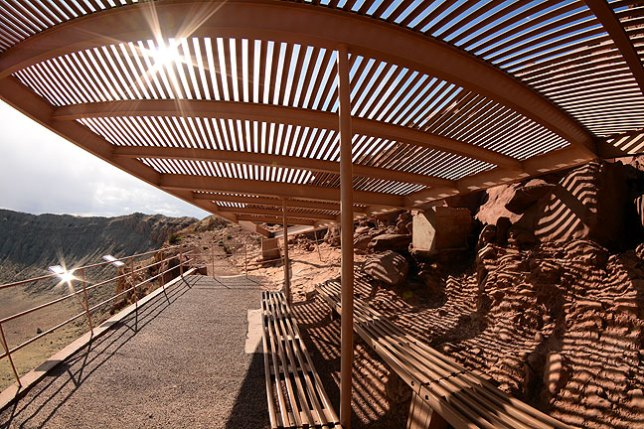 Sunlight streams through a rest area at Meteor Crater's Visitor's Center.