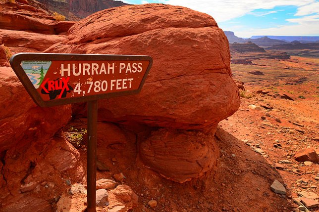 The sign at Hurrah Pass; the road wasn't all that difficult, but it was rough and required four-wheel-drive in a few spots, which was no trouble at all for Abby's Nissan Frontier.