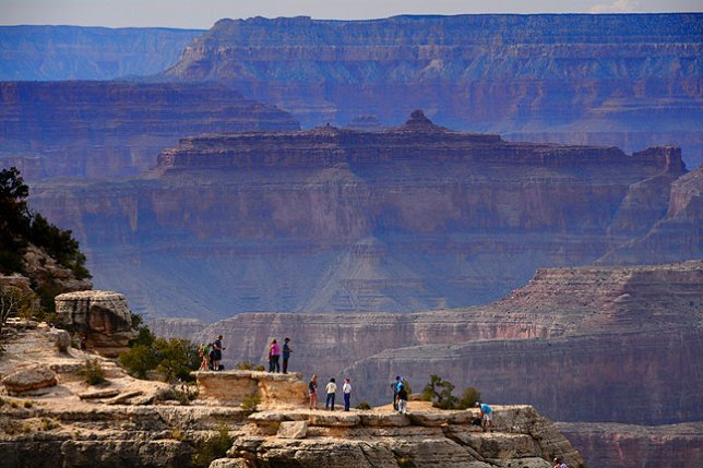 This slightly more serene view near the Grand Canyon visitor center was made from Mather Point looking west.