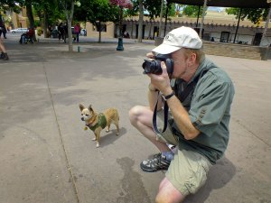 With Max the Chihuahua on a leash clipped to my belt, I photograph activities on the historic Plaza in Santa Fe, New Mexico.