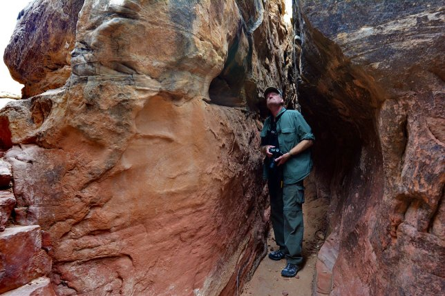 Your host explores a maze of cracks and slots on the Joint Trail deep in the Needles District of Canyonlands.