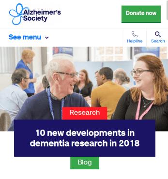 screenshot of Alzheimer's Society's 2018 roundup