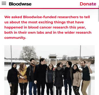 screenshot of a 2018 roundup from Bloodwise