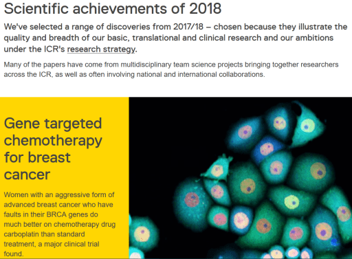 screenshot of the Institute for Cancer Research's 2018 roundup