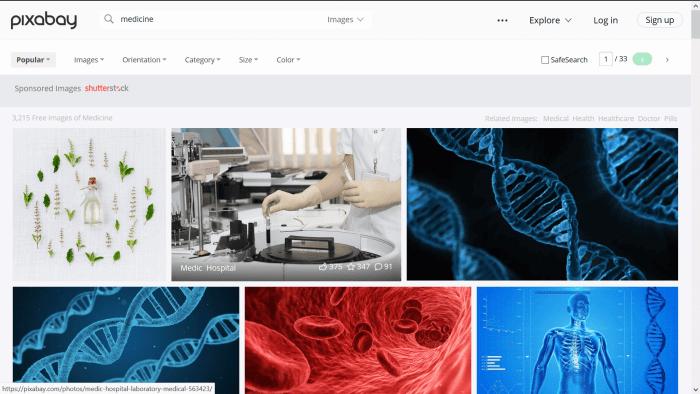 screenshot of the Pixabay website