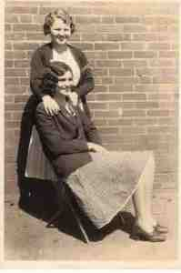 Old photo of two young women.