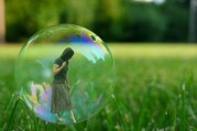 woman inside a bubble