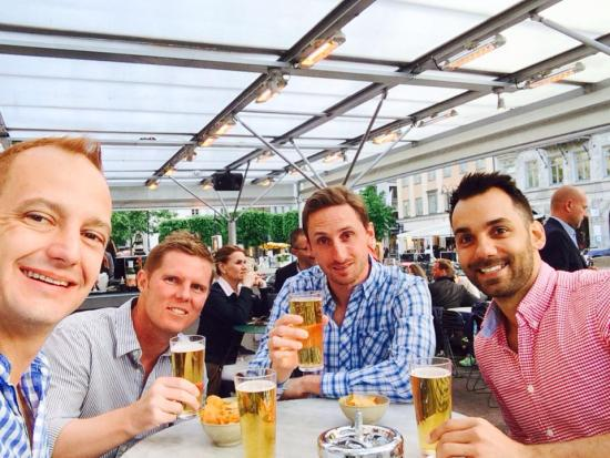 Beers in Stockholm. Richard Bray, Tim Whishaw, Daniel Bell, Travis Weston