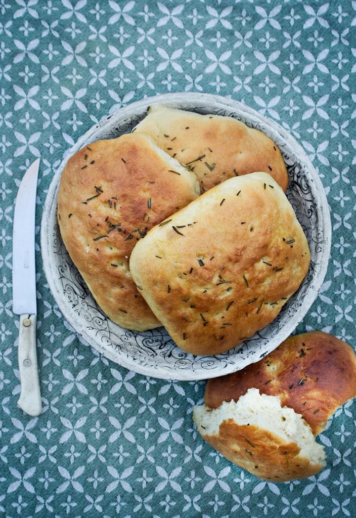 Home-made focaccia bread rolls