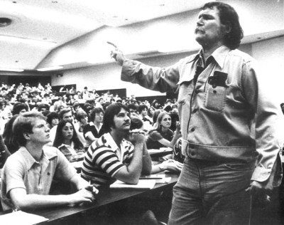 Harry Crews, June 7, 1935 - March 28, 2012. He's probably holding forth here at the University of Florida, probably in the mid- to late-1970s when I was there.