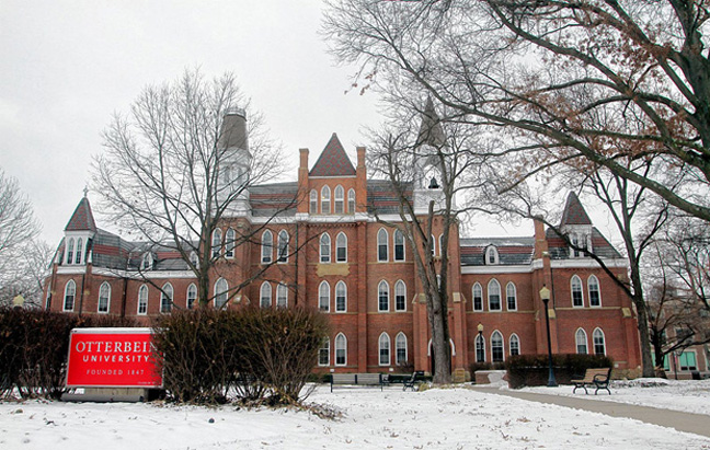 [Otterbein University's iconic Towers Hall. My room this winter is on the ground floor, just right of center.]
