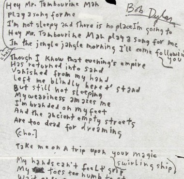 dylans-tambourne-man-handwritten-lyrics