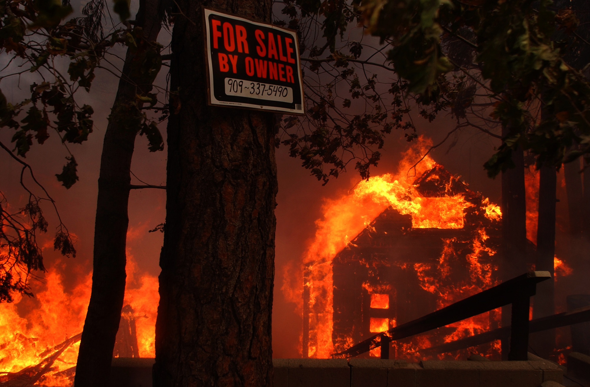 A For Sale sign looms in the foreground as an entire neighborhood burns to the ground, Wednesday afternoon along Hook Creek Road in the Cedar Glen area of Lake Arrowhead.