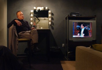 Actor James Caan takes a moment to himself backstage before going on the Jimmy Kimmel Live show, Friday evening in Hollywood.