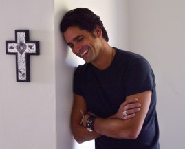 John Stamos, Thursday afternoon in the Hollywood Hills.He returns to TV with a new comedy on ABC called Jake In Progress. Stamos, 41, feels like he's in progress himself, on the heels of a public divorce and back in the dating scene again.