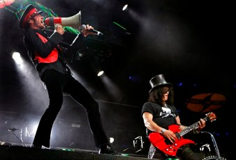 Scott Weiland, left, and Slash as Velvet Revolver performs on stage during the KROQ LA Invasion at the Home Depot Center in Carson Saturday September 15, 2007.
