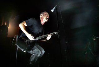 Trent Reznor of Nine Inch Nails on stage during the KROQ Acoustic Christmas concert, Saturday night at the Gibson Amphitheatre.