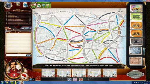 Start of a multiplayer online Ticket to Ride Game