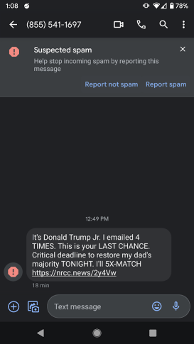 Donald Trump Jr. Spam Text Message