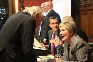 Nola Leach chats to Lord Northbourne, Andrew Selous MP and Richard Kane in background