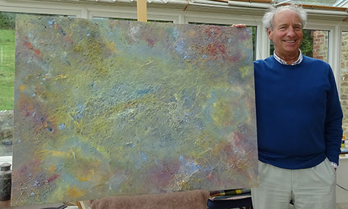 Richard Kennedy with Dorset abstract painting Surreal heights