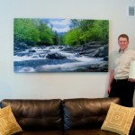 "Scott and ""Little Pigeon River"" installation"
