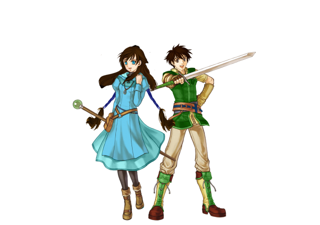 A young woman in a blue dress holding a magical staff and a young man in a green tunic wielding a sword