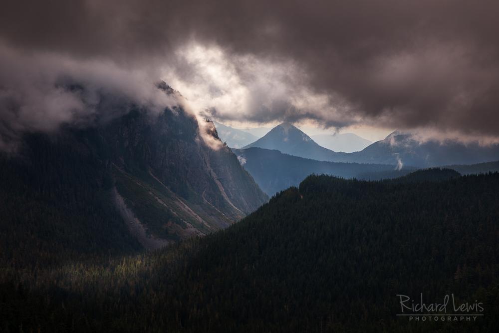 Tatoosh Range Storm Light Mt Rainier