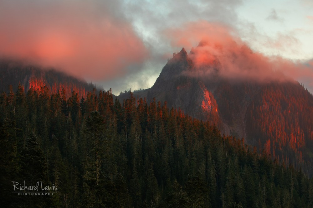 Sunset Fire In The Tatoosh Range Mt Rainier