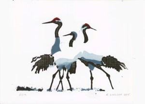 Japanese crane linocut A5