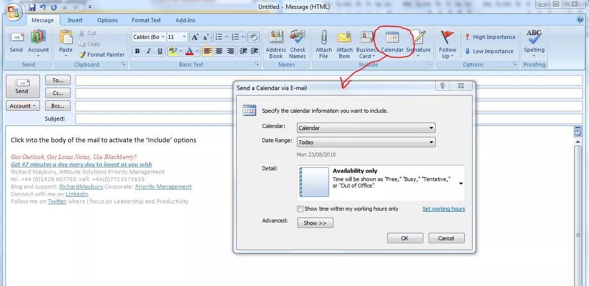 How to Insert your Calendar Into an Email Using Outlook 2007 and 2010