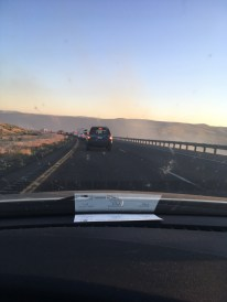 There was an hour-long back-up on 1-90 because of a wildfire.