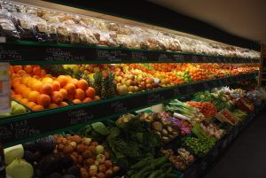 The shop with it's rows of fruit and veg