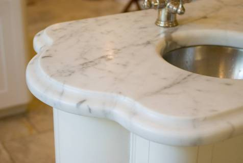 Scallop edge detail - Bianco Carrara marble