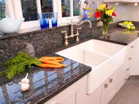 Sink, splashback and sill detail in Blue Pearl granite