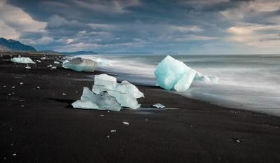 the black sands and icebergd on jokulsarlon beach