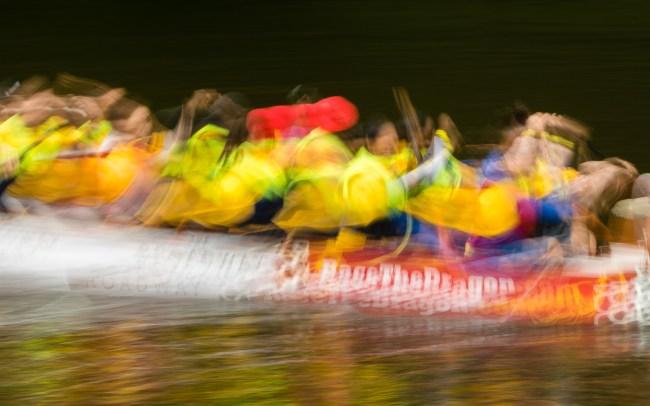 dragon boat racing abstract