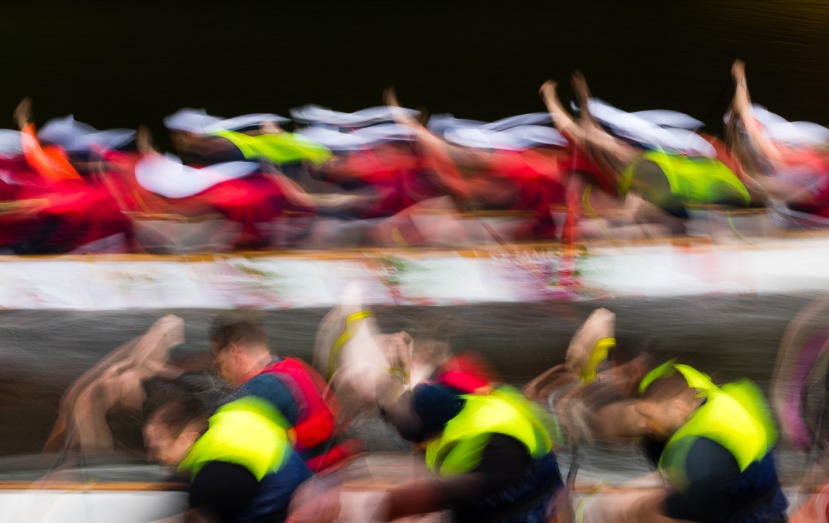 dragon boat racing abstract