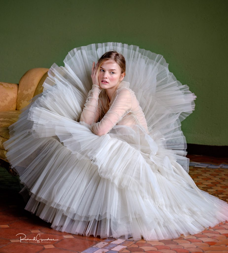 Image of ana wearing the white bridal dress designed by Franco Ciambella