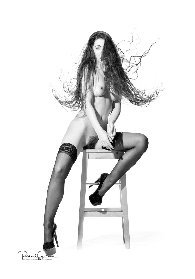 a high key edge fashion nude image of the model madame bink based on a rankin look