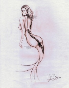 Coresetted Mermaid Sketch upright