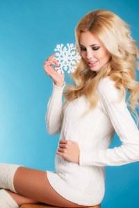 Winter Blonde in White Knit Dress