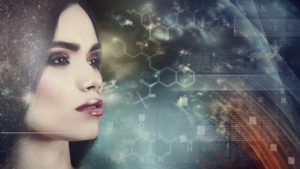 culture evolves due to genetic manipulation 57855271 - evolution, female portrait against abstract science backgrounds