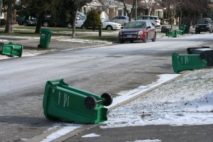 Garbage pickup day in winter