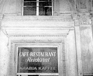 Sign above side door of Cafe Reichsrat