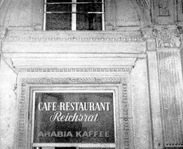 Sign above side door of Cafe Reichsrat