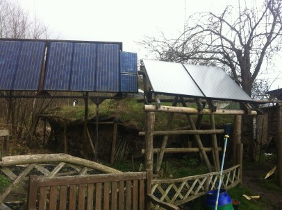 Solar Power - whole site is off grid and charging some big batteries!