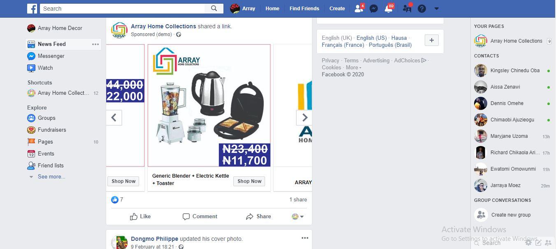 Ad preview Facebook